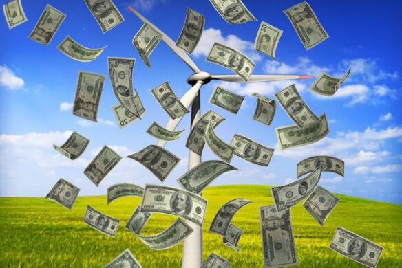 une éolienne avec des billets qui vole