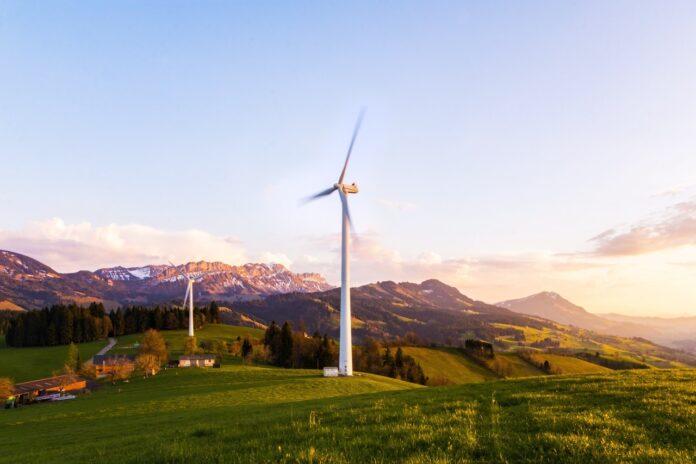 éolienne maisons paysage